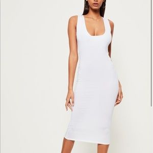 Missguided white jersey square neck midi dress